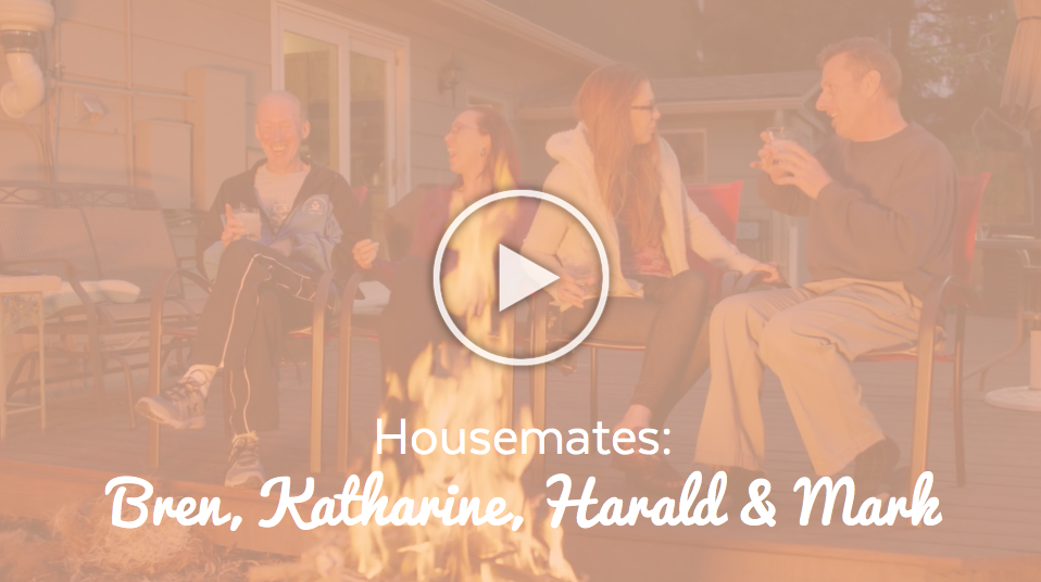 Image-Homesharing Story Bren, Katharine, Harald & Mark (Video) with play button